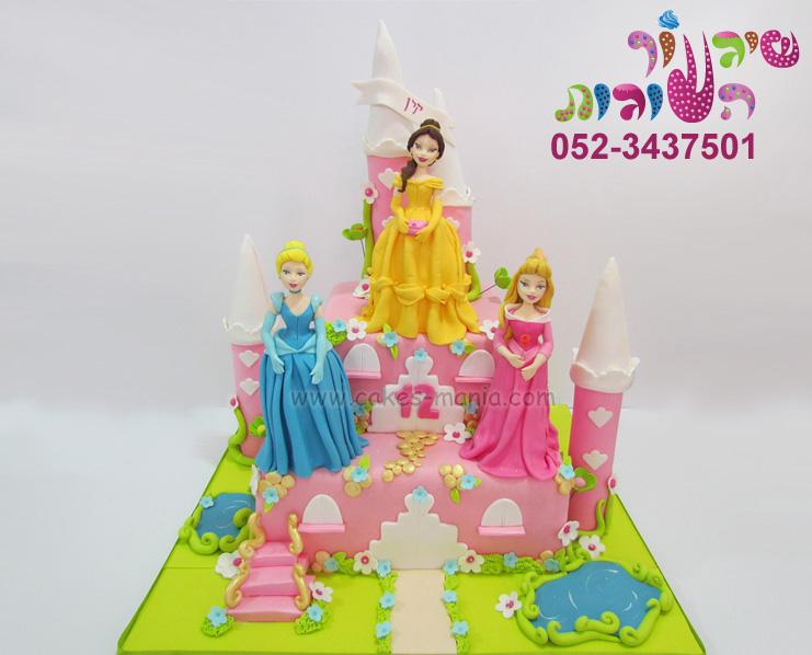 עוגת בת מצווה נסיכות דיסני בל אורורה וסינדרלה