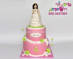 עוגת קומות נסיכה בשמלת קצפת