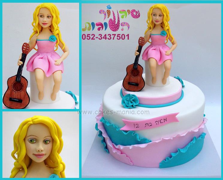 עוגת בת מצווה לנערה שמנגנת בגיטרה