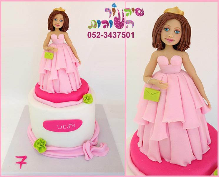 עוגת נסיכה בשמלה ורודה