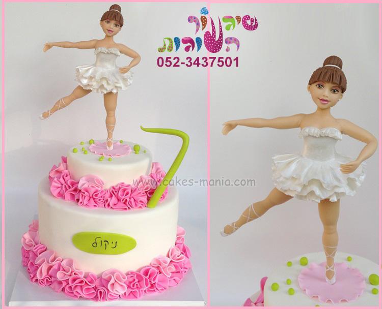 עוגת בלרינה שמלה לבנה