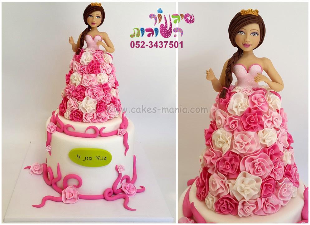 עוגת נסיכה בשמלת פרחים