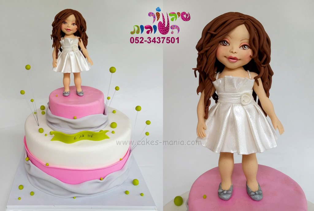 עוגת יום הולדת עם פיסול של הילדה. פיסול ידני לפי תמונה