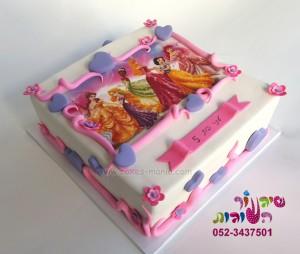 עוגת נסיכות מודפסת מרובעת