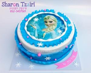 עוגת פרוזן אלזה מודפסת בשילוב דף סוכר