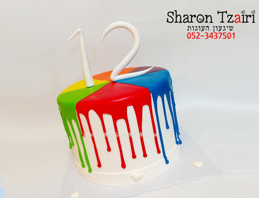 עוגת בת מצווה נוזלת בצבעי הקשת
