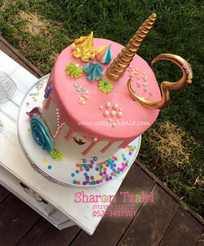 """עוגה """"נוטפת"""" בהשראת חד קרן ליום הולדת 13"""