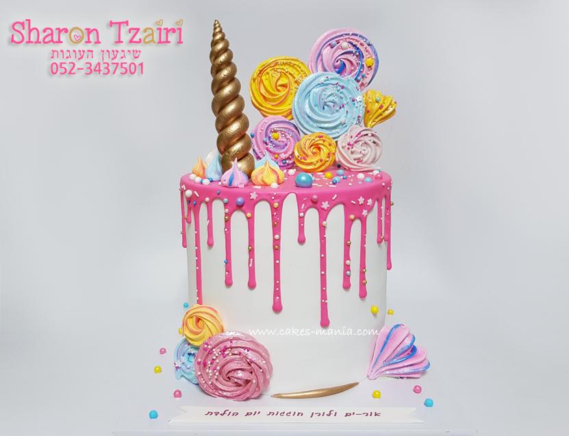 עוגת נטיפים בצבעים חיים בהשראת חד קרן