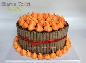 """עוגת נשיקות לל""""ג בעומר, עוגה ללא ציפוי בצק סוכר עם תמונה דף סוכר מודפסת, עוגה לגן יום הולדת מודפסת, עוגת יום הולדת בזול"""