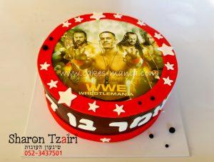 עוגת יום הולדת מעוצבת בזול ללא ציפוי בצק סוכר מודפסת עם דף סוכר של התאבקות wwf