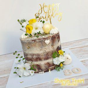 עוגה עירומה ליום הולדת 80 בגווני צהוב