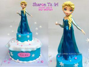 עוגת יום הולדת מעוצבת פרוזן הנסיכה אלזה frozen elsa cake