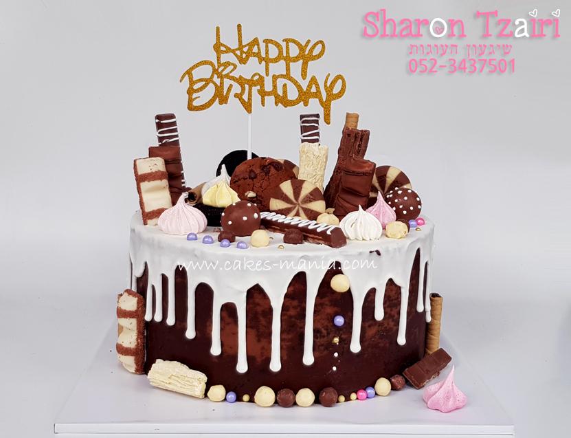 עוגת טפטופים - שוקולד שחיתות - 3 ורוד