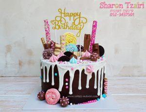 """עוגת טפטופים 4 - שוקולד שחיתות - עם נגיעות ורוד 400 ש""""ח (קוטר 24 גבוהה)"""