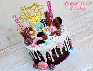 """עוגת טפטופים 4 - שוקולד שחיתות - עם נגיעות ורוד 400 ש""""ח"""