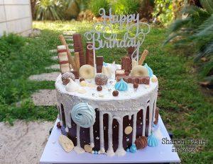 """עוגת טפטופים 5 - שוקולד שחיתות - עם נגיעות תכלת 380 ש""""ח (קוטר 24 גבוהה)"""