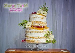 עוגה ערומה - שולחן מתוקים בסגנון כפרי לחתונה